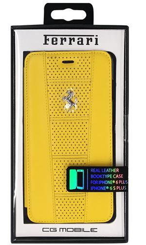 """フェラーリiPhone6/6S PLUS(5.5inch)カバー """"458 Perforated Black Leather Booktype Case Yellow"""""""
