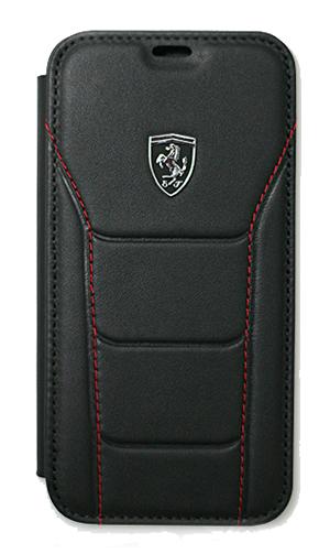 """フェラーリiPhoneX カバー """"488 Genuine Leather Booktype Case BLACK"""""""