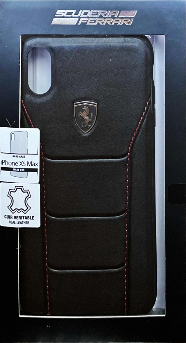 【アウトレットSALE品】フェラーリ iPhone XS Max用  488 レザー ハードケース ブラック  【SALE】¥2900