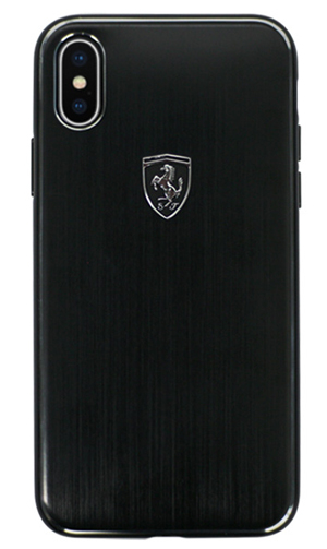 "フェラーリiPhoneX カバー ""Ferrari Aluminium Hard Case BLACK"""