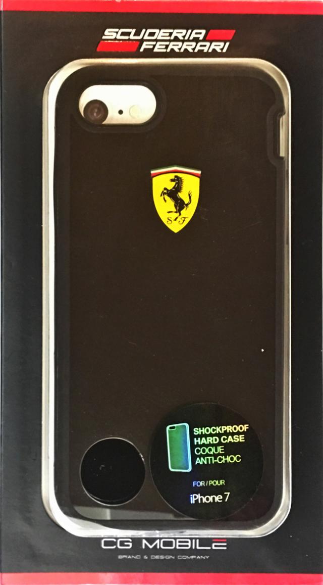 【アウトレットSALE品】フェラーリiPhone8/7/6S/6対応 SHOCK PROOF ハードケース ブラック 【SALE】¥1900