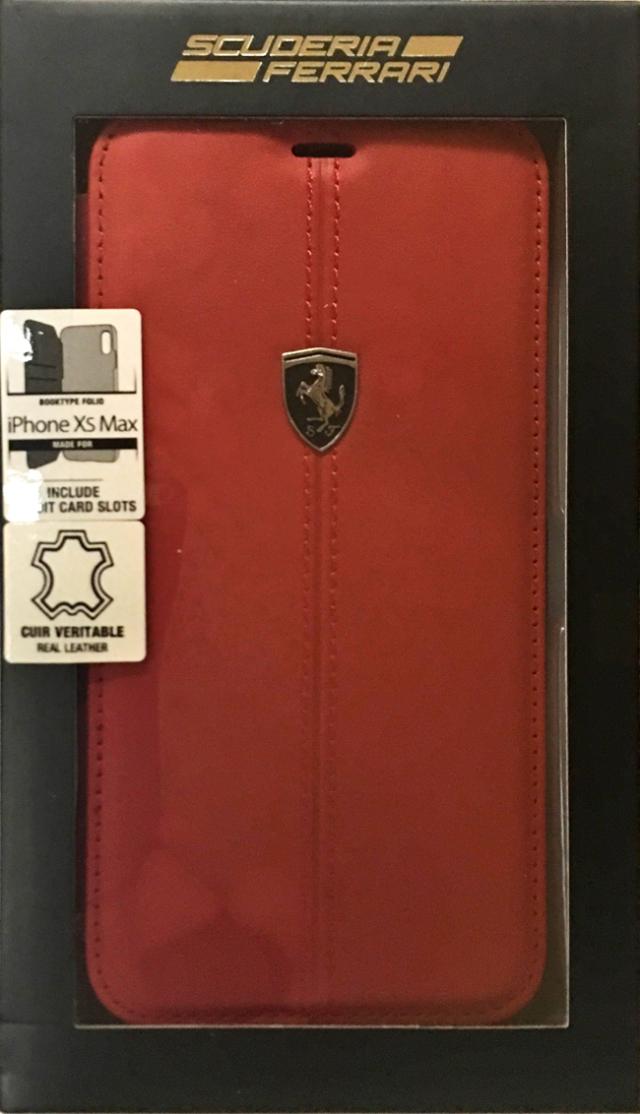 【アウトレットSALE品】フェラーリiPhoneXS Max専用 本革 BOOKTYPEケース  レッド 【SALE】¥3800