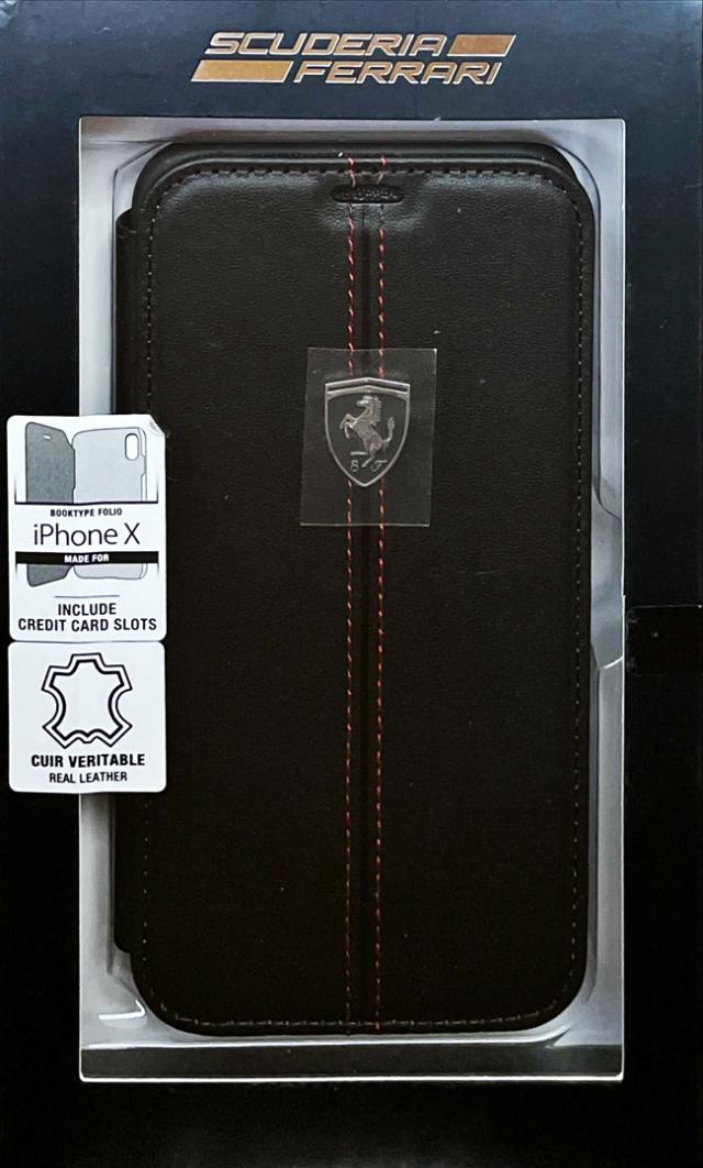 【アウトレットSALE品】フェラーリ iPhone X用  本革+TPU 手帳型ケース ブラック  【SALE】¥2900