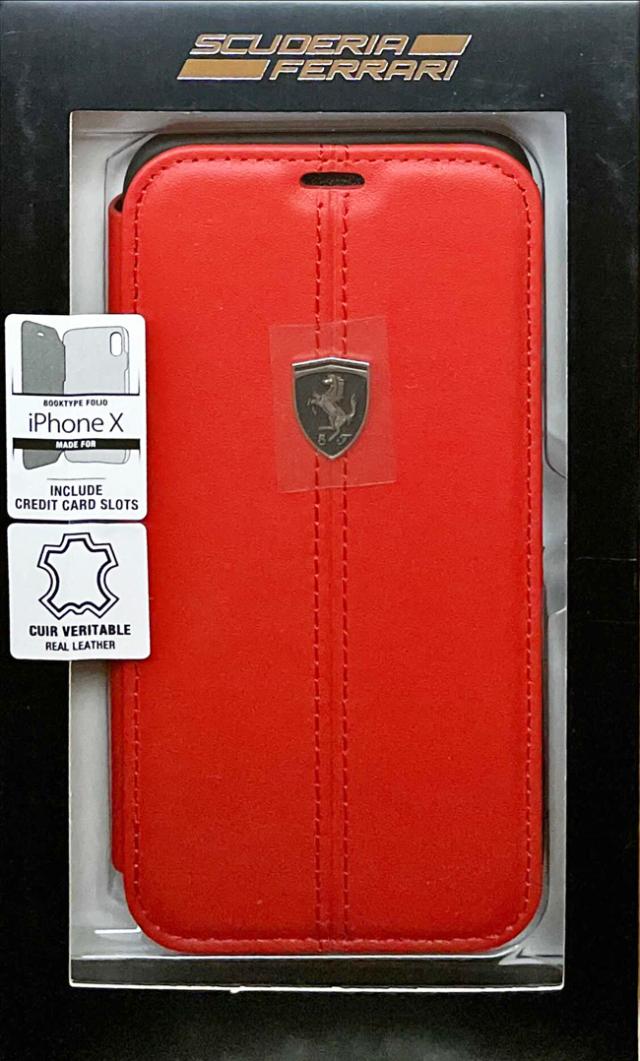 【アウトレットSALE品】フェラーリ iPhone X用  本革+TPU 手帳型ケース レッド  【SALE】¥2900