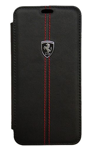 "フェラーリSamusung Galaxy S9カバー ""Ferrari - HERITAGE - Booktype Case W vertical contrasted stripe  BLACK"""