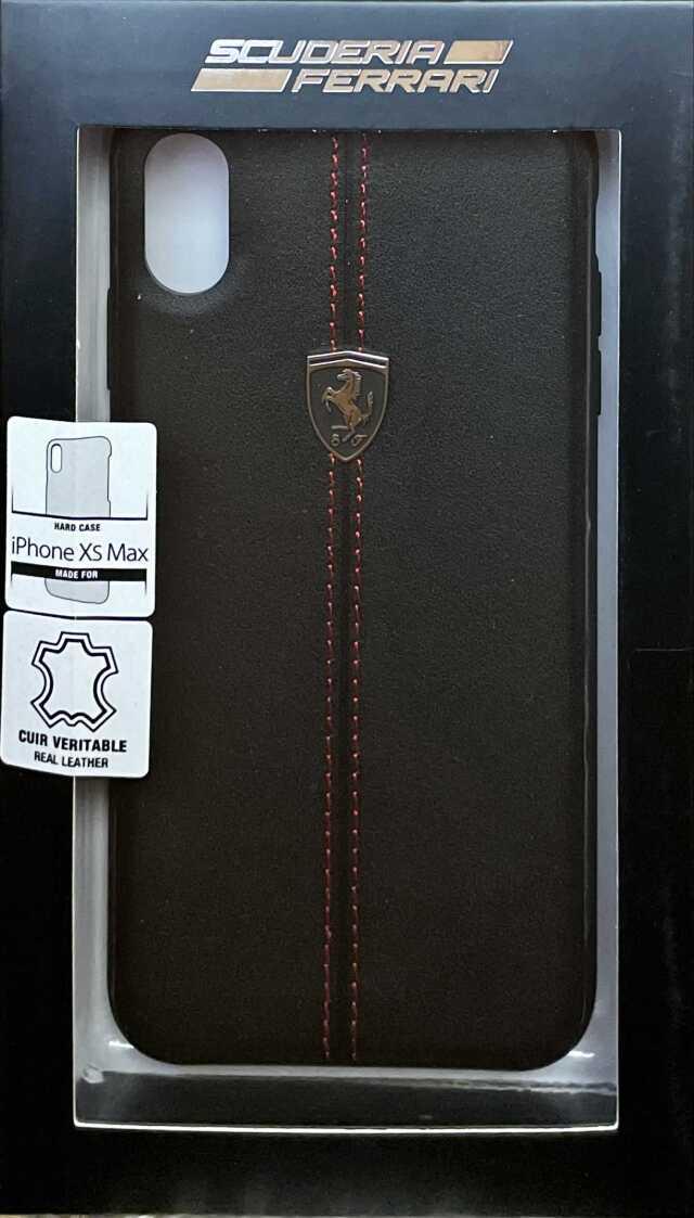 【アウトレットSALE品】フェラーリ iPhone XS Max用  レザーハードケース W ベルティカル コントラスト ストライプ ブラック  【SALE】¥2900
