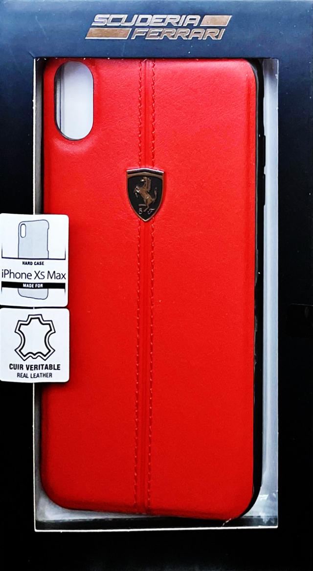 【アウトレットSALE品】フェラーリ iPhone XS Max用  レザーハードケース W ベルティカル コントラスト ストライプ レッド  【SALE】¥2900