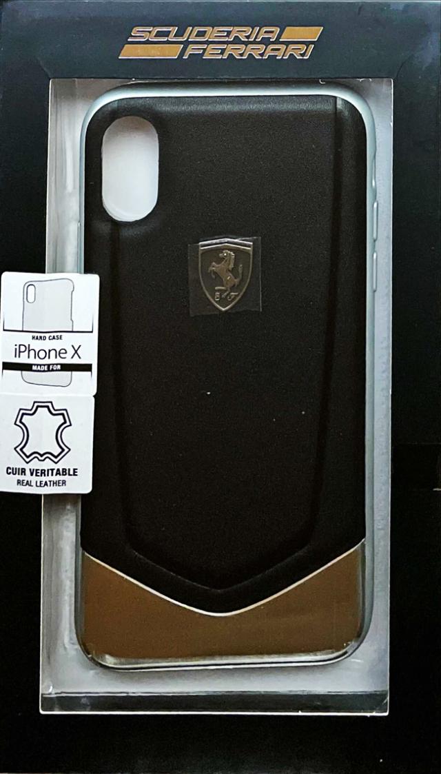 【アウトレットSALE品】フェラーリ iPhone X用  本革+アルミハードケース ブラック  【SALE】¥2900