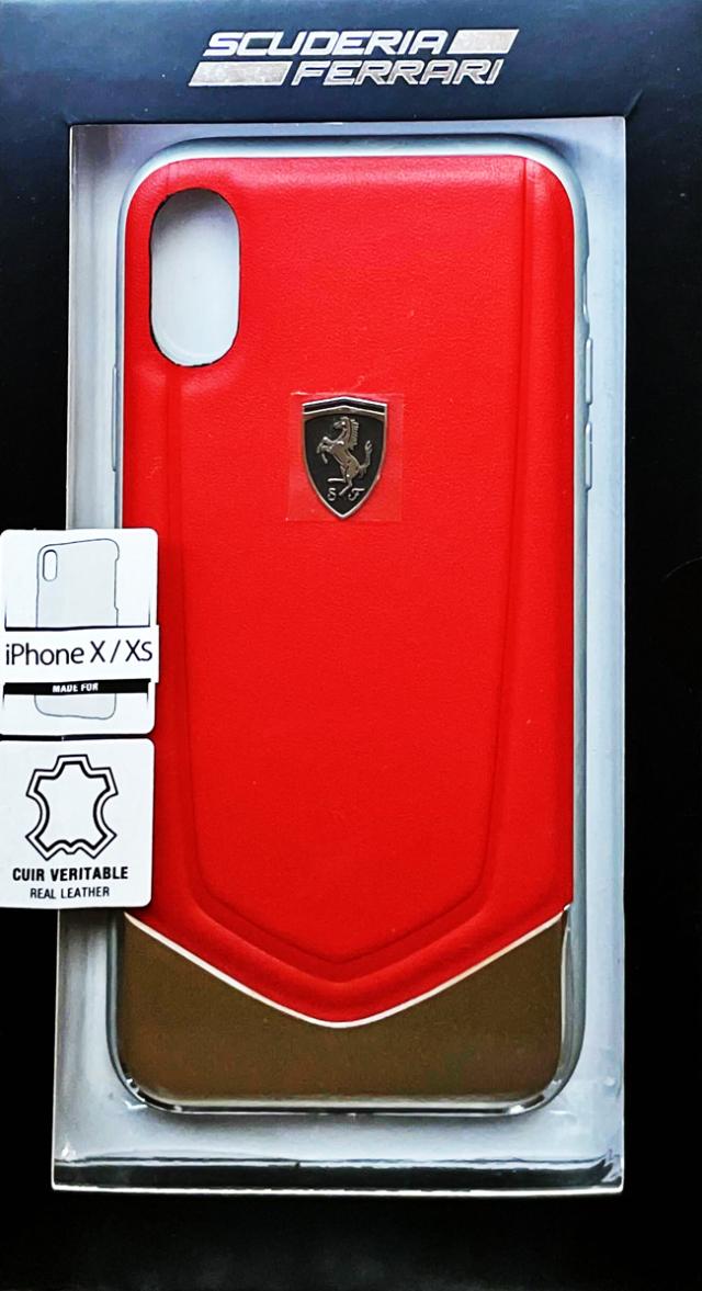 【アウトレットSALE品】フェラーリ iPhone X/XS用  本革+アルミハードケース レッド  【SALE】¥2900