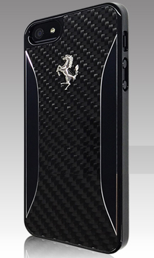 "フェラーリiPhone5/5S/SE カバー ""Ferrari Carbon Fiber Hard Case Black"""