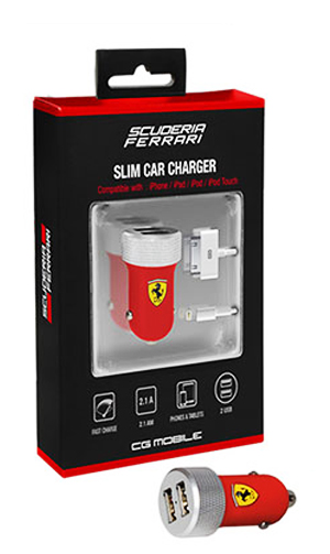 "【SALE】フェラーリ 2ポート車載充電器(USB-Lingtning USB-DOCKケーブル2本付) ""FERRARI SLIM CAR CHARGER Red"""
