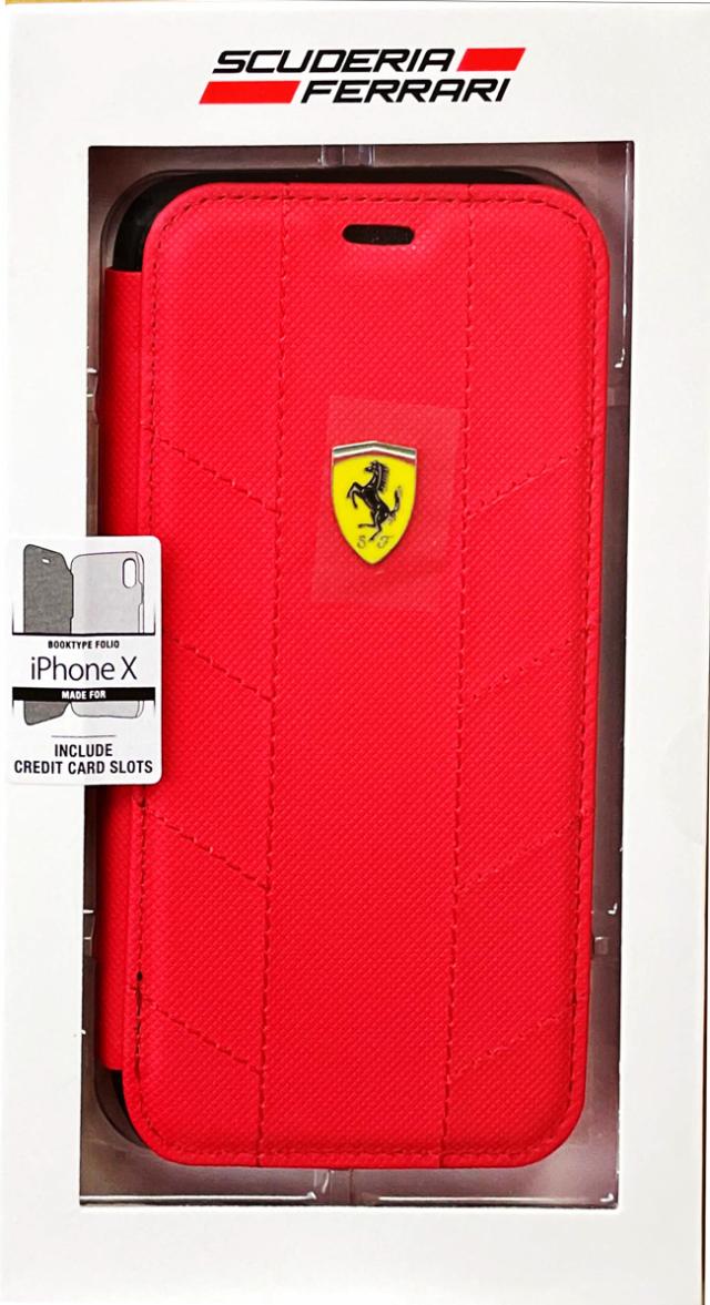 【アウトレットSALE品】フェラーリ iPhone X用  SF Booktype ケース Racing Tyres レッド  【SALE】¥2900