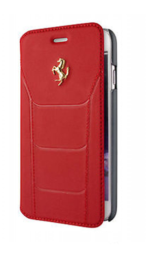 "フェラーリiPhone7 カバー ""Ferrari 488 Booktype Case Red Genuine Leather GoldLogo"""