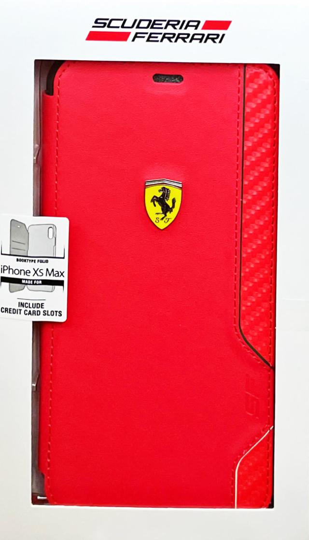 【アウトレットSALE品】フェラーリ iPhone XS Max用  ON TRACK PUレザー/カーボン ブックタイプ レッド  【SALE】¥2900