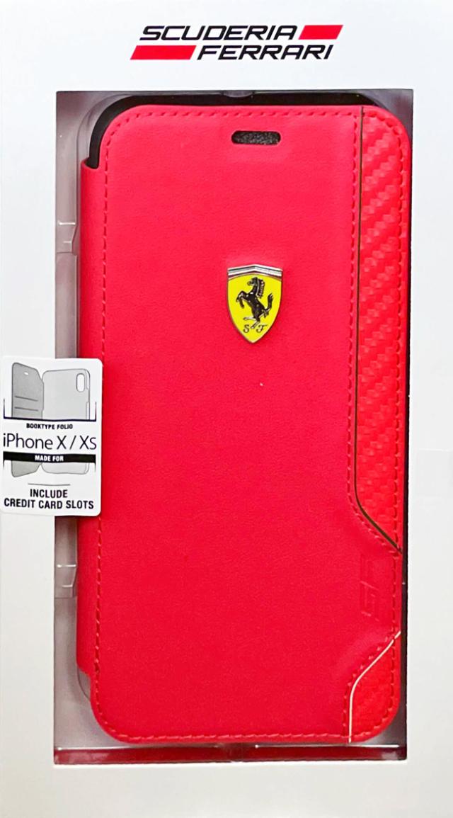 【アウトレットSALE品】フェラーリ iPhone X/XS用  ON TRACK PUレザー/カーボン ブックタイプ レッド  【SALE】¥2900