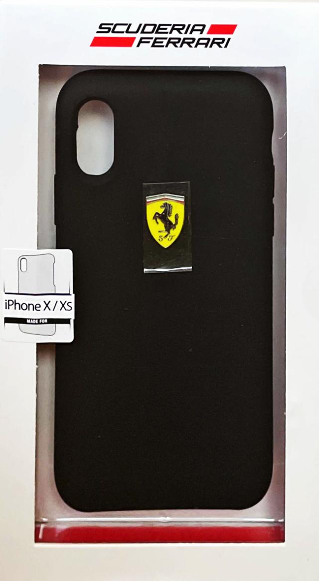 【アウトレットSALE品】フェラーリ iPhone X/XS用  シリコンバックカバー ブラック  【SALE】¥2900