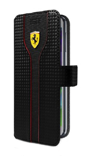 "フェラーリ 汎用スマートフォンカバー""RACING - Red Carbon PU leather Black Trim Universal Booktype Case Black"""
