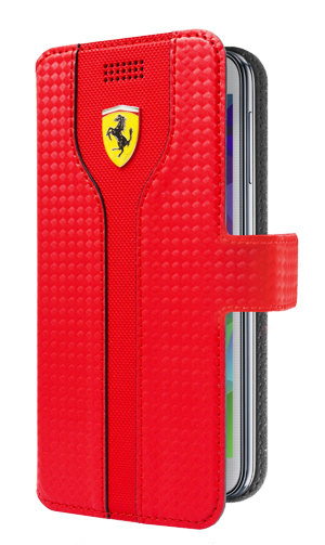 "フェラーリ 汎用スマートフォンカバー""RACING - Red Carbon PU leather Black Trim Universal Booktype Case Red"""