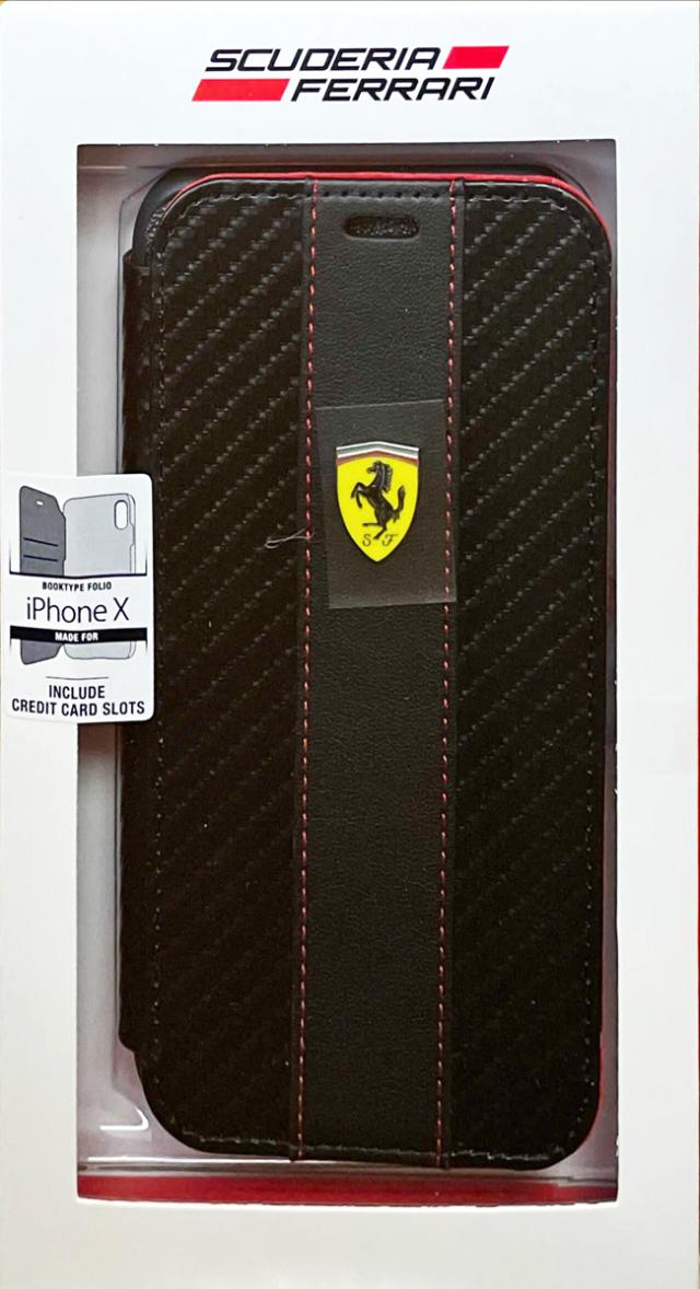 【アウトレットSALE品】フェラーリ iPhone X用  PU+TPU 手帳型ケース レッド  【SALE】¥2900