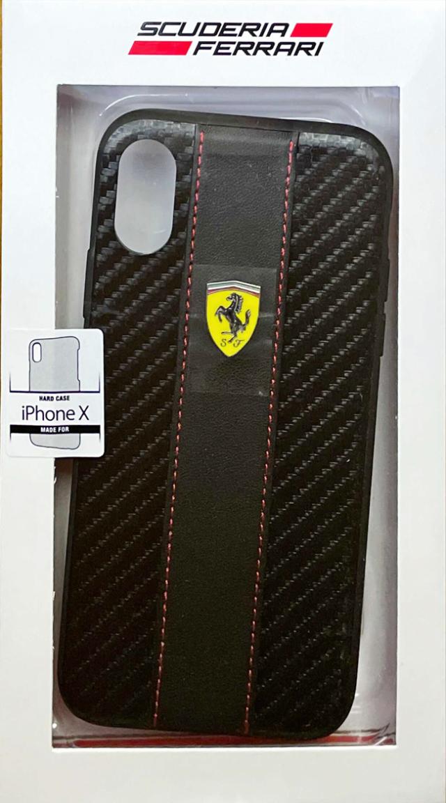 【アウトレットSALE品】フェラーリ iPhone X用  PU+TPU 背面ケース レッド  【SALE】¥2900