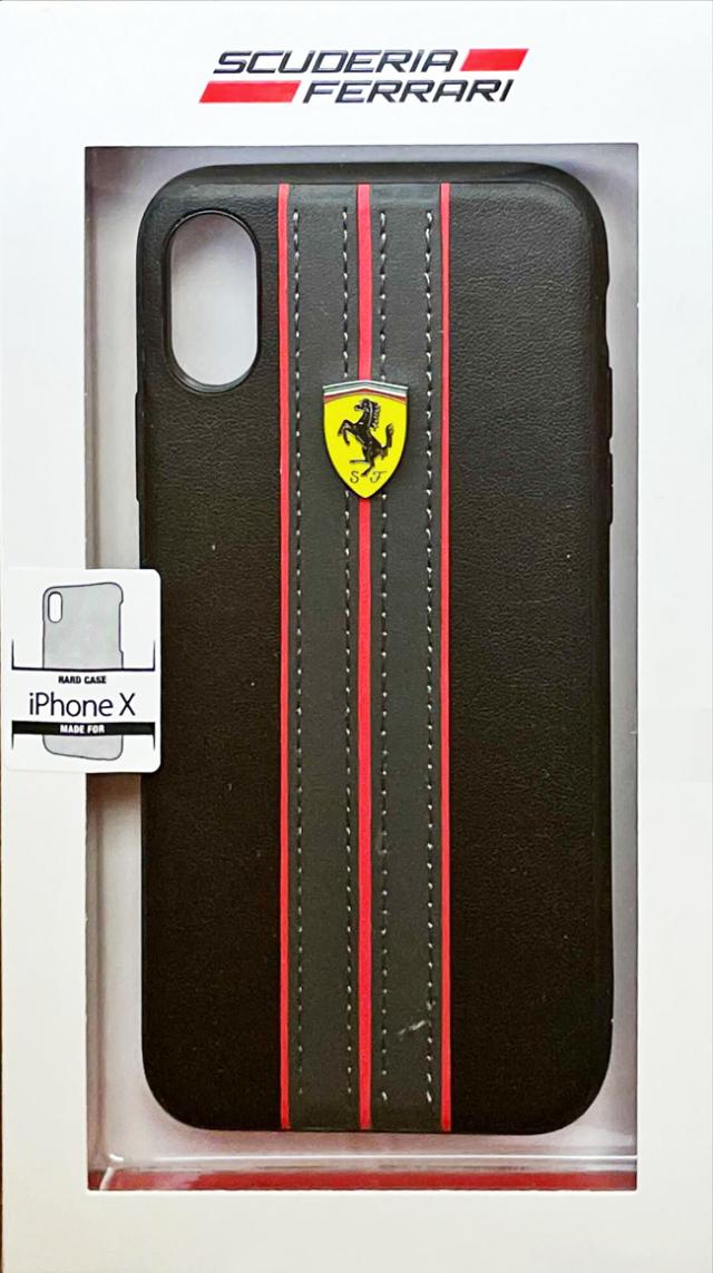 【アウトレットSALE品】フェラーリ iPhone X用  PUレザーハードケース ブラック  【SALE】¥2900