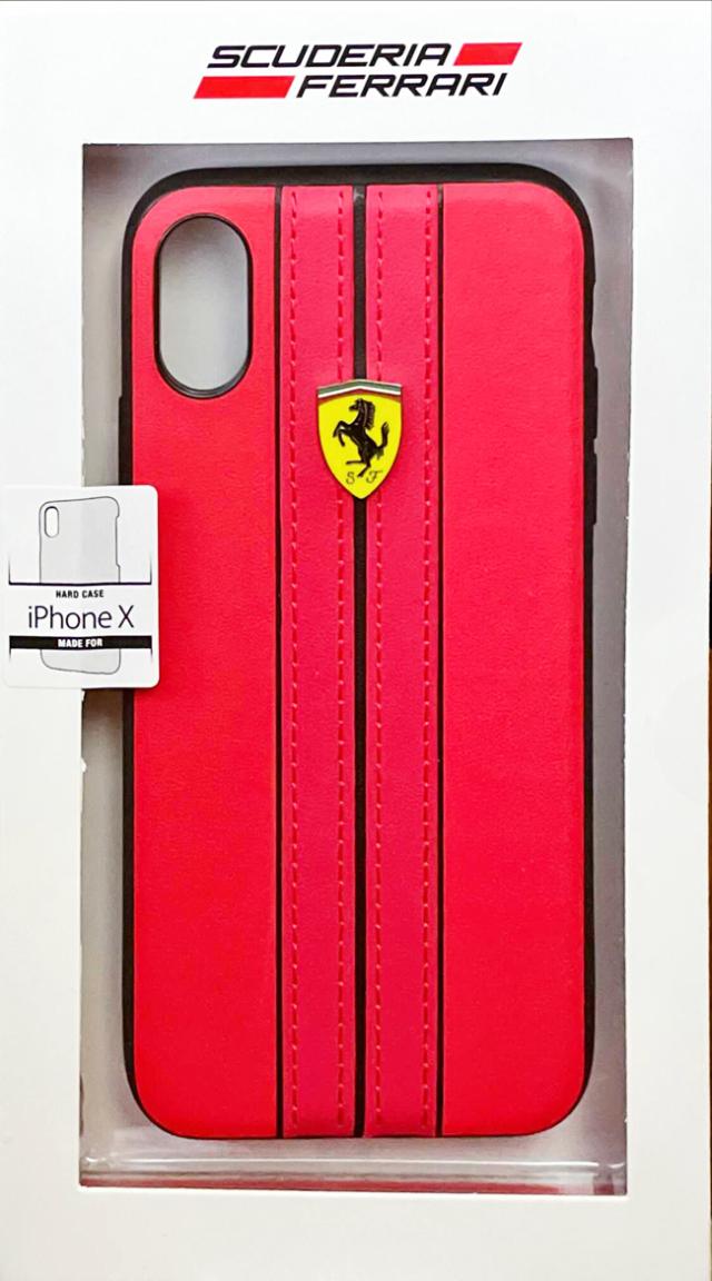 【アウトレットSALE品】フェラーリ iPhone X用  PUレザーハードケース レッド  【SALE】¥2900