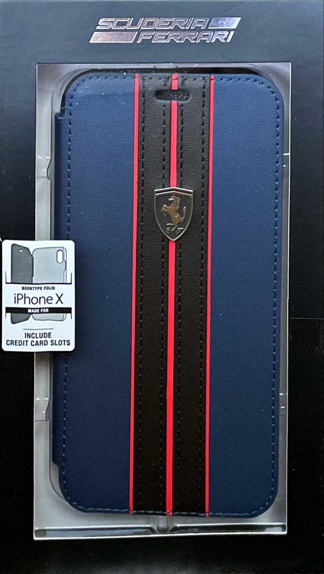 【アウトレットSALE品】フェラーリ iPhone X/XS用  PUレザー 手帳型ケース ネイビー  【SALE】¥2900