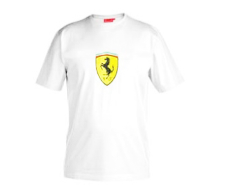 フェラーリ ワンポイントTシャツ ホワイト サイズS~L