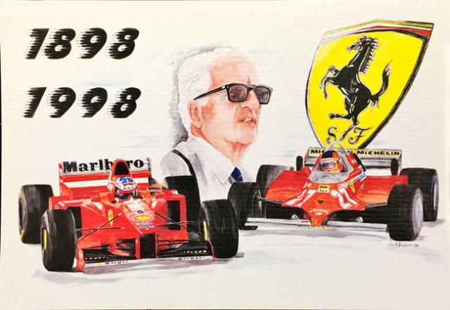 フェラーリミュージアム エンツォ・フェラーリ 生誕100周年記念 L.アントニオ イラストカード(B)