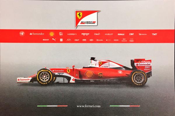 フェラーリ 2016 SF16-H マシンカード サイズ:縦13×横19.5cm