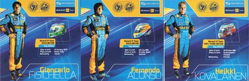2006 ルノー ドライバーズカード 3枚セット(アロンソ・フィジケラ・コバライネン)