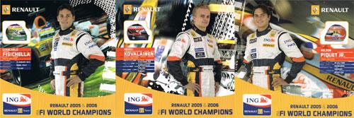 2007 ルノー ドライバーズカード 3枚セット(コバライネン・フィジケラ・ピケJr)