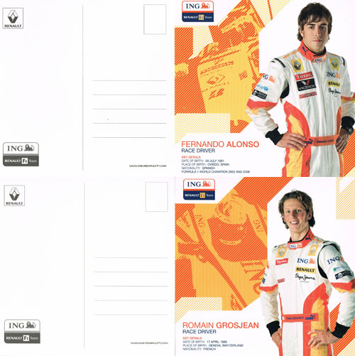2009 ルノー ドライバーズカード 2枚セット(アロンソ・グロージャン)