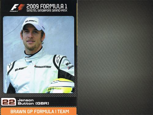 2009 シンガポールGP ブラウンGP ドライバーズカード J.バトン