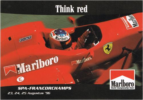 【ドライバーズカードフェアー対象商品】1996 ベルギーGP GRANDPRIXカード フェラーリ マルボロ M.シューマッハ