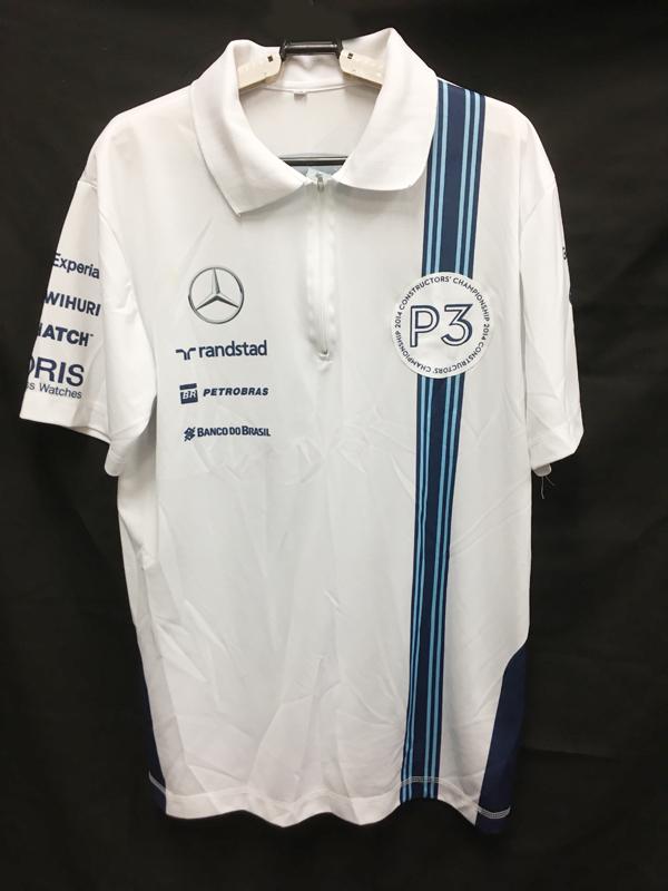 2014 ウィリアムズ チーム支給品 アブダビGPコンストラクターズP3ワッペン付きZIPTシャツ サイズXL USED 左胸汚れあり