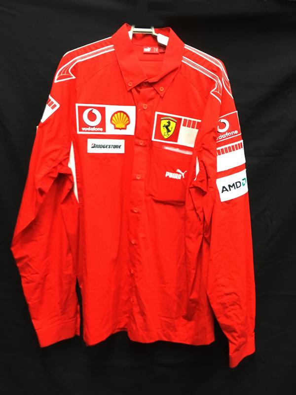 2005 フェラーリ チーム支給品 長袖PITシャツ サイズXL USED 汚れあり・ポケット(ネーム)外し