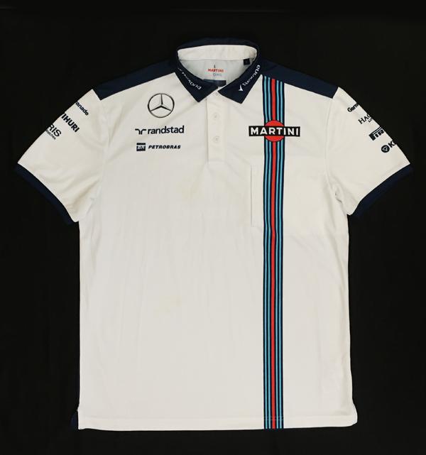 2015年 ウィリアムズ チーム支給品 チームポロ USED ホワイト サイズL (前白 後ろ青)