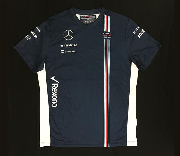 2016年 ウィリアムズ チーム支給品 チームTシャツ ロシアGP用 USED サイズXL (前後青 脇白)