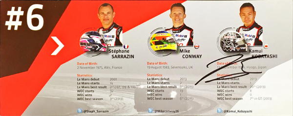 小林可夢偉 直筆サイン入 2016 TOYOTA(トヨタ) GAZOO RACING WEC LMP1 TS050 チームカード No.6