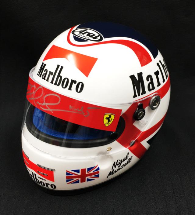 【最終入荷】N.マンセル直筆サイン入 フェラーリ時代マルボロデカール付き1/2ヘルメット