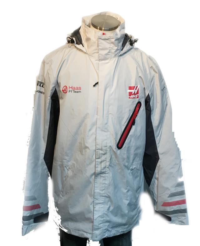 ハースF1チーム 2018 チーム支給品 チームレインジャケット サイズL USED 全体的に汚れ有