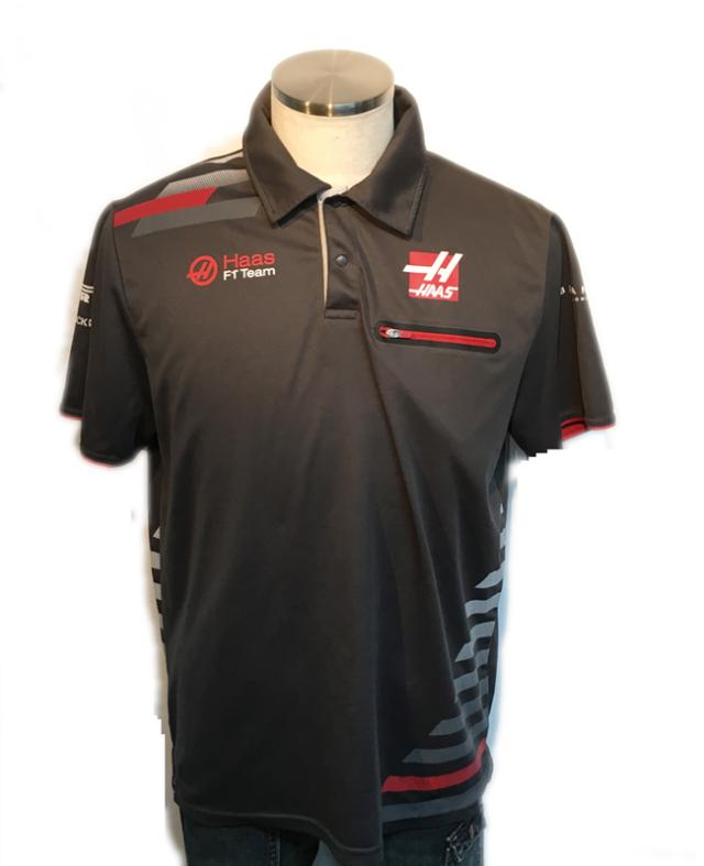 ハースF1チーム 2018 チーム支給品 チーム半袖ボタンシャツ サイズL USED