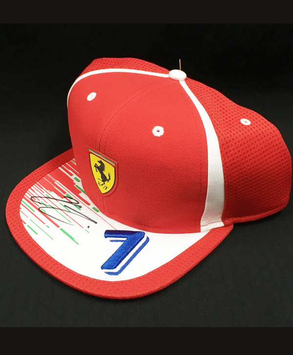 K.ライコネン 直筆サイン入 2018 フェラーリF1 ドライバーズキャップ(市販品)