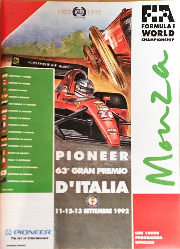 F1公式プログラム 1992年イタリアGP ポケット版