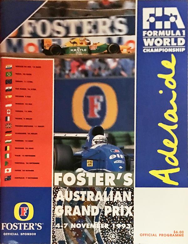 F1公式プログラム 1993年オーストラリアGP