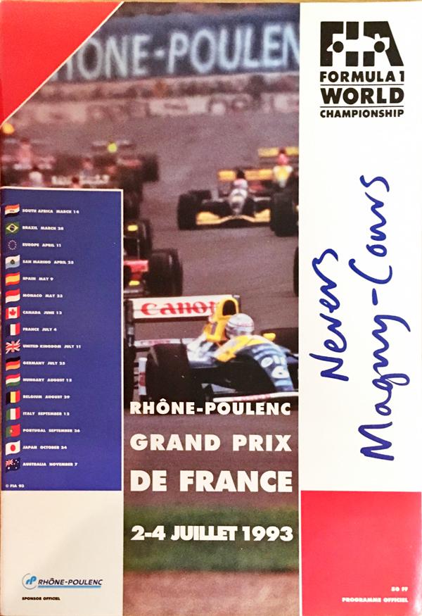 F1公式プログラム 1993年フランスGP
