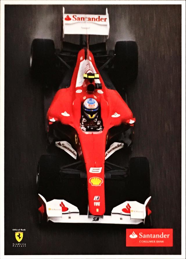 2010 フェラーリ スポンサー Santander(サンタンデール) プロモーションカード F.アロンソ(A)