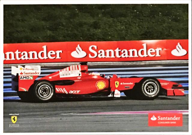2010 フェラーリ スポンサー Santander(サンタンデール) プロモーションカード F.アロンソ(B)