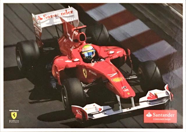 2010 フェラーリ スポンサー Santander(サンタンデール) プロモーションカード F.マッサ